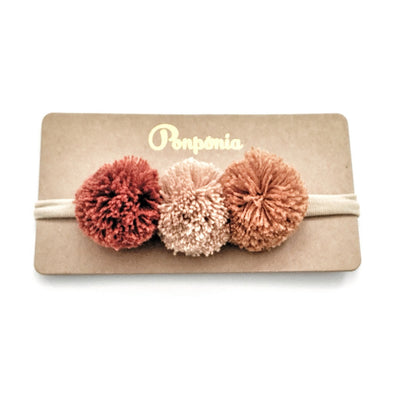 Pompom Trio Head Band - Crimson