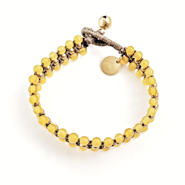 Shabu Anklet in Yellow Jade and Light Brown Cord