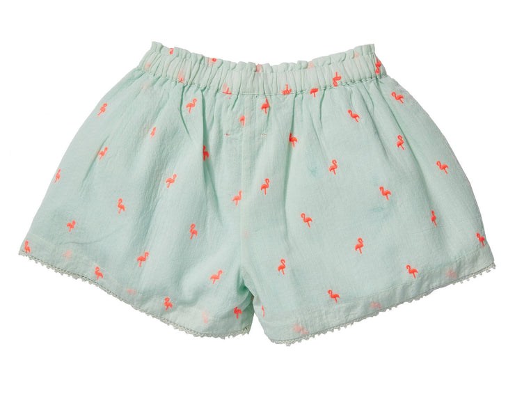 Embroidered shorts- Light Green, pants - Ponponia