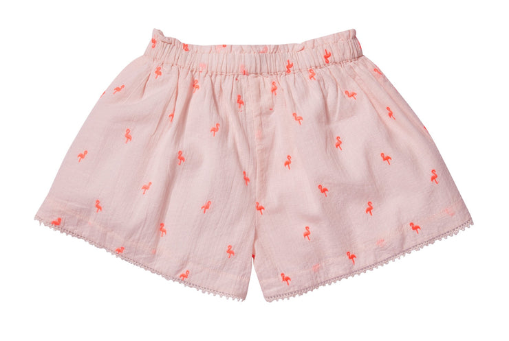 Embroidered shorts- Light Pink, pants - Ponponia