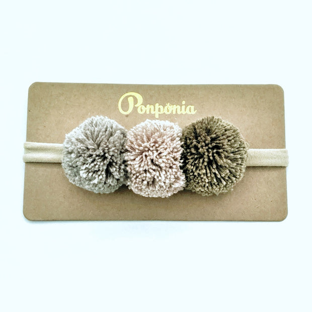 Pompom Trio Head Band - Forest