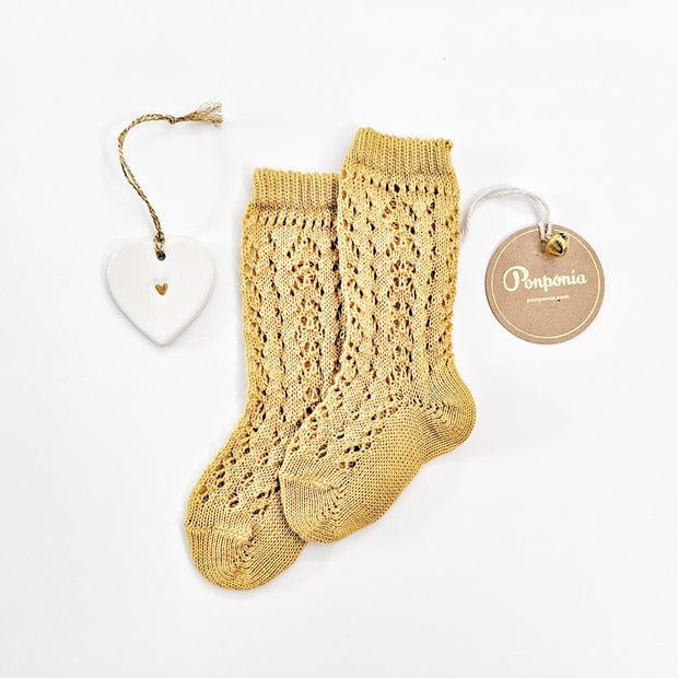 Full openwork knee high socks- Golden Hue