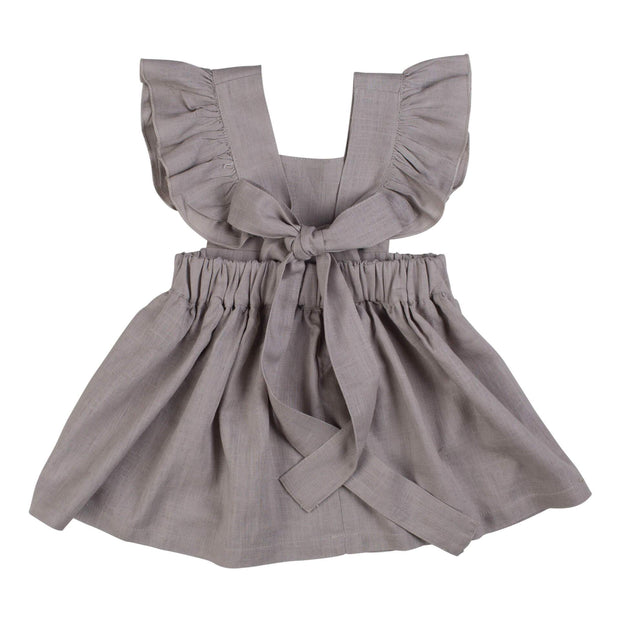 Linen Ruffled Dress- Light Grey, dresses - Ponponia