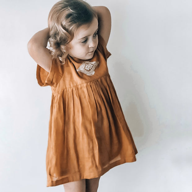 The Kartika Dress in Deep Amber