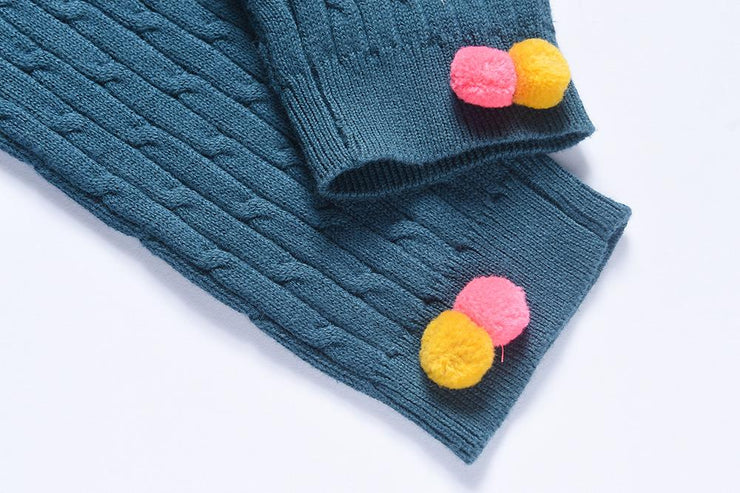 knitted pants with pompoms- Deep Turquoise, pants - Ponponia