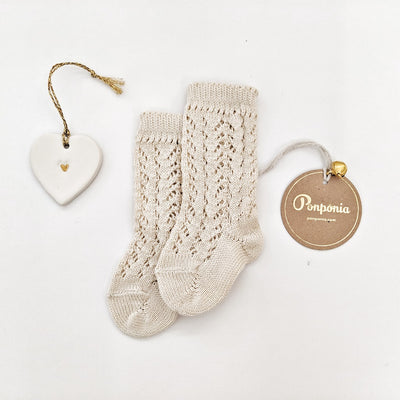 Full openwork knee high socks- Linen