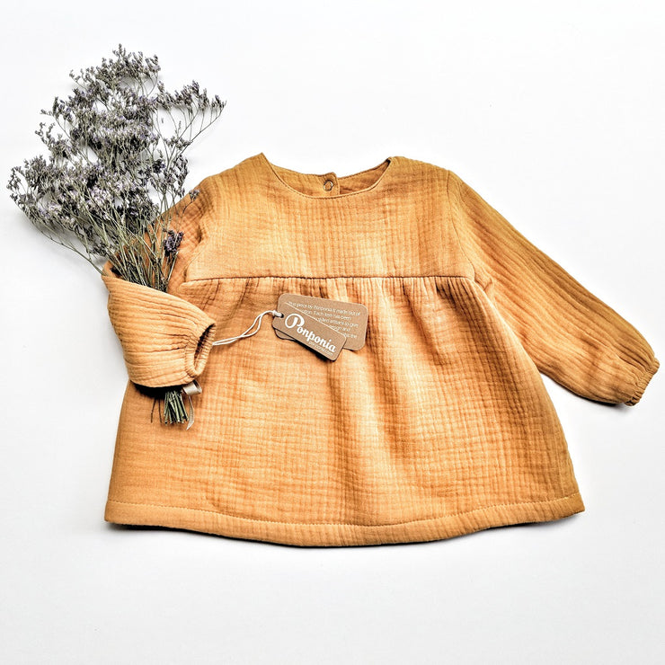 Elodie Muslin Dress in Gold, shirts - Ponponia