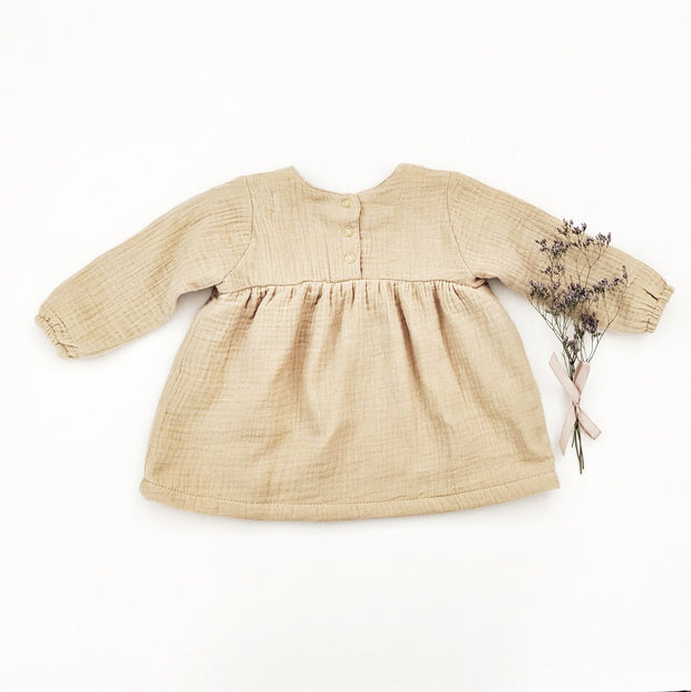 Elodie Muslin Dress in Olive Cream, shirts - Ponponia