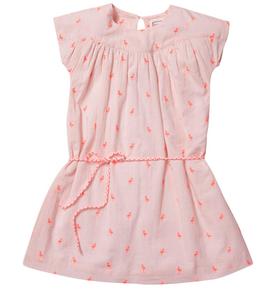 Embroidered cotton dress- Light Pink, dresses - Ponponia