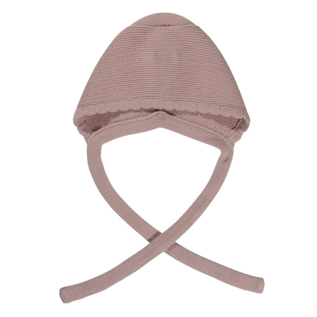 Knitted cotton bonnet- Dusty Pink, hats - Ponponia