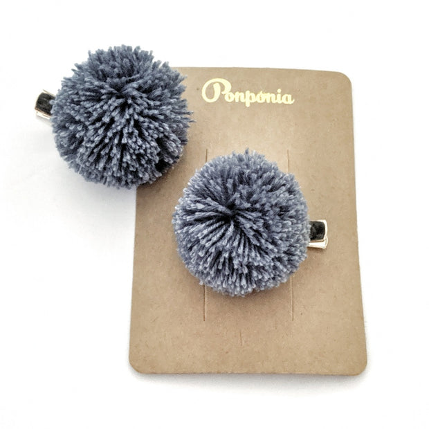 Pompom Hair Clip - Denim