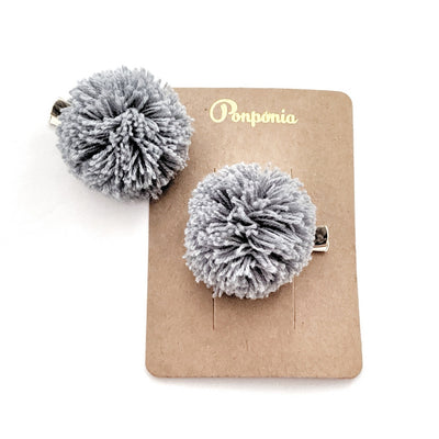 Pompom Hair Clip - Light Denim