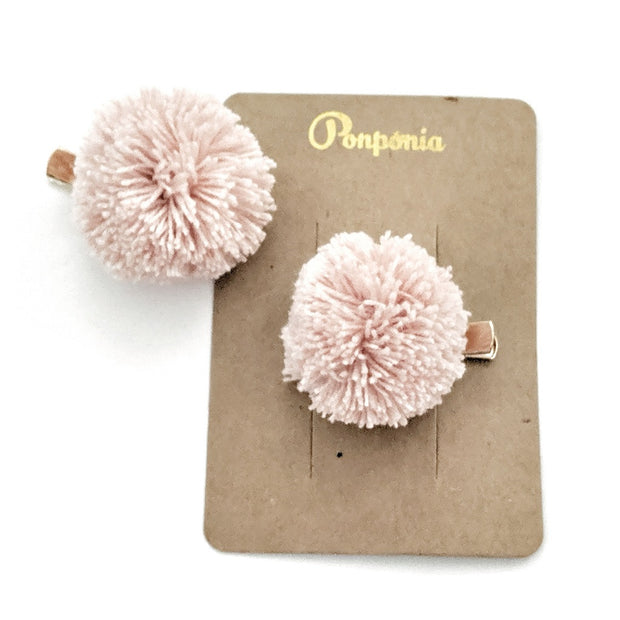 Pompom Hair Clip - Pink Powder