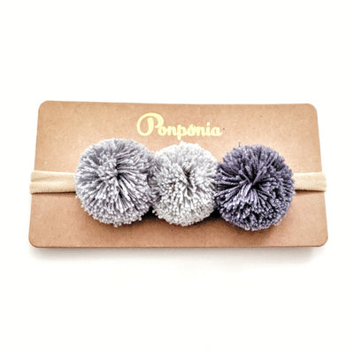 Pompom Trio Head Band - Denim Blue