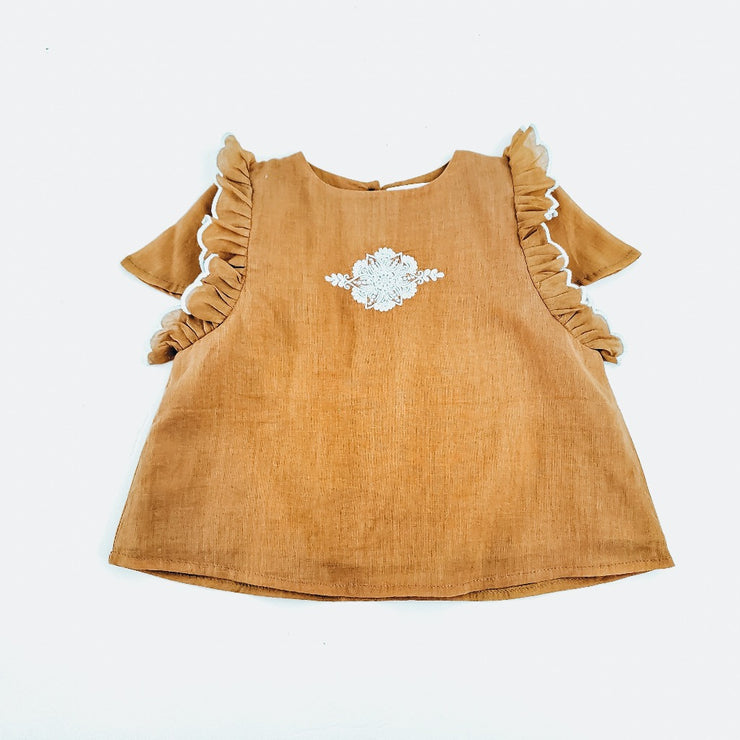 The Riya Blouse in Deep Amber & Light Grey Embroidery
