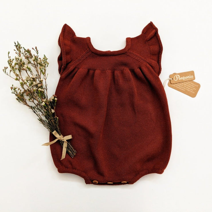 Luna Balloon Romper in Dark Cherry, Rompers - Ponponia