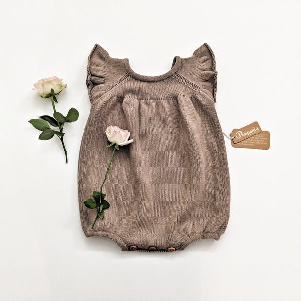 Luna Balloon Romper in Grey Champagne, Rompers - Ponponia
