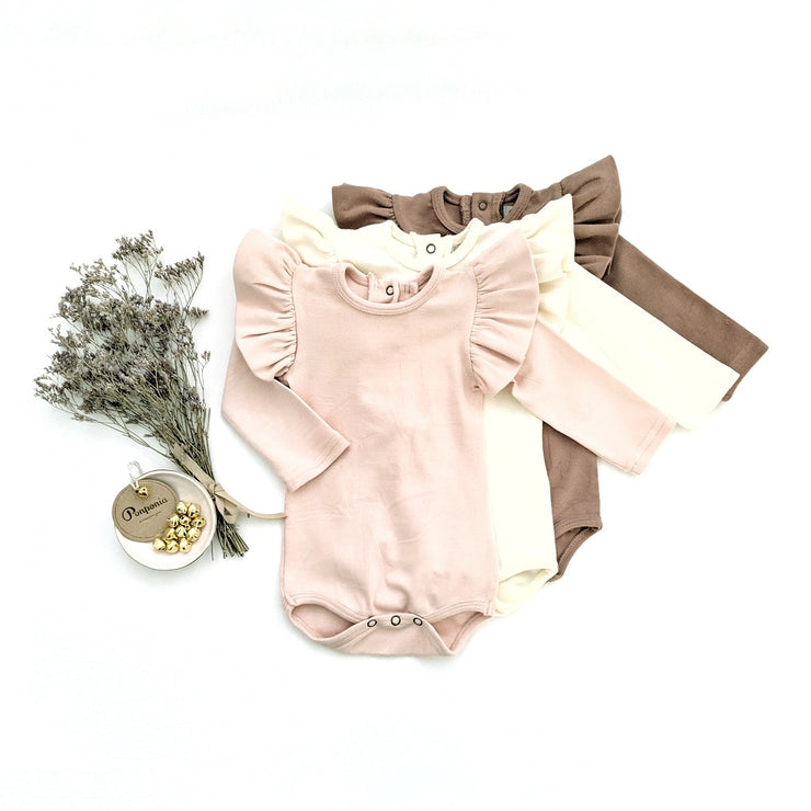 Roni Ruffled bodysuit in Blush