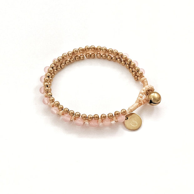 The Toula Bracelet/Anklet in Rose Quarts and Vanilla cord