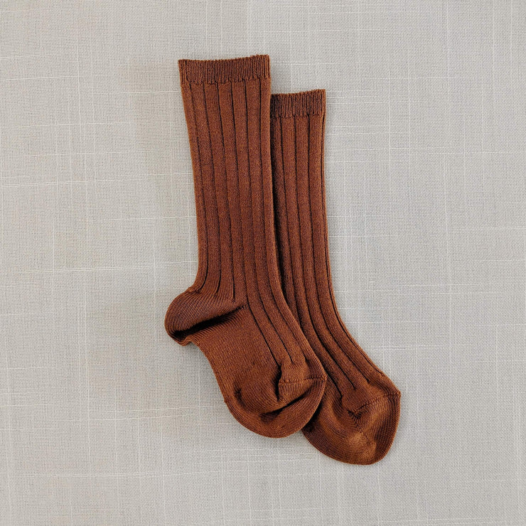 Ribbed knee high socks- Rust, Socks - Ponponia