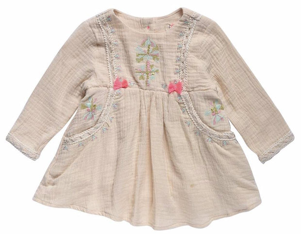 Embroidered Muslin dress with tassels- Cream, dresses - Ponponia