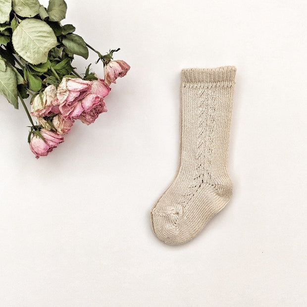 Side Braided knee high socks- Linen, Socks - Ponponia