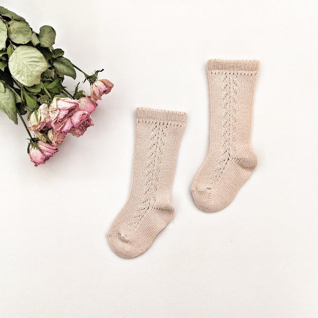 Side Braided knee high socks- Nude, Socks - Ponponia