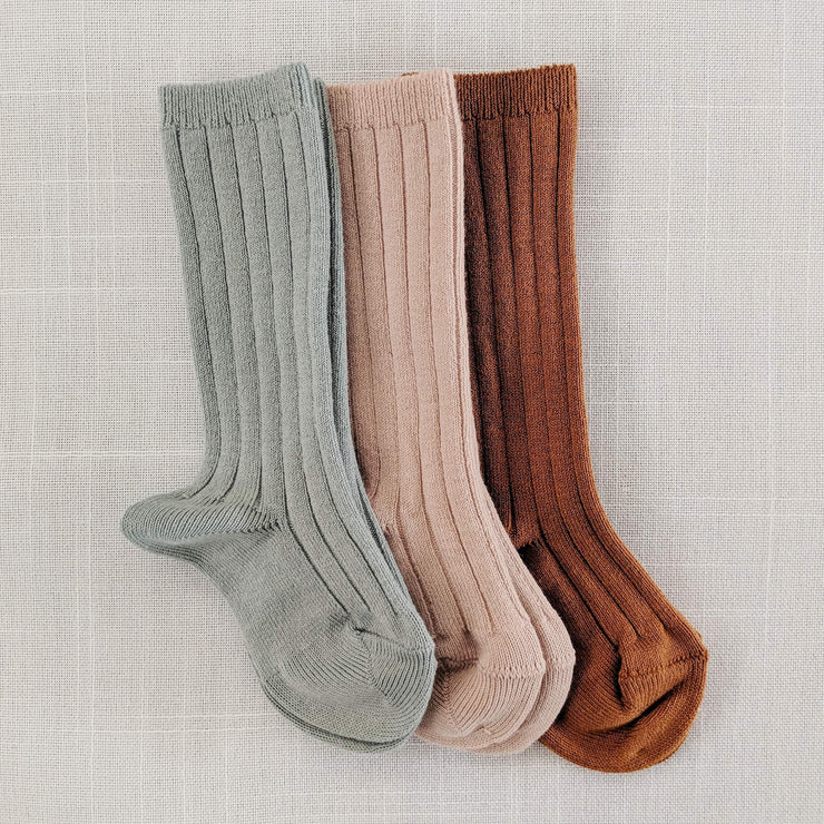 Ribbed knee high socks- Smokey Teal, Socks - Ponponia