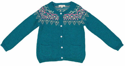 Embroidered knitted cardigan- Deep Green, shirts - Ponponia