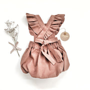 The Ari Ruffled Romper in Spicy Brown