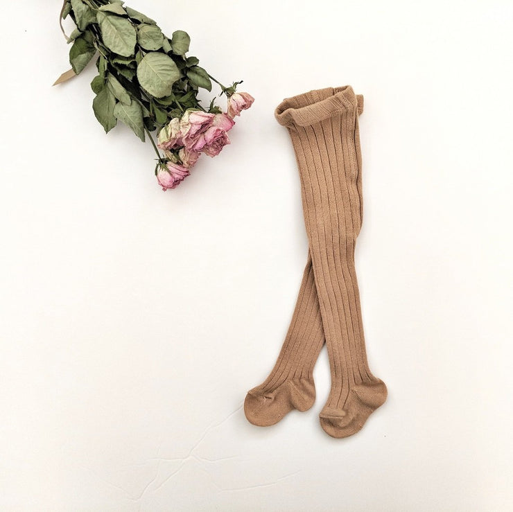 Rib Tights- Camel, tights - Ponponia