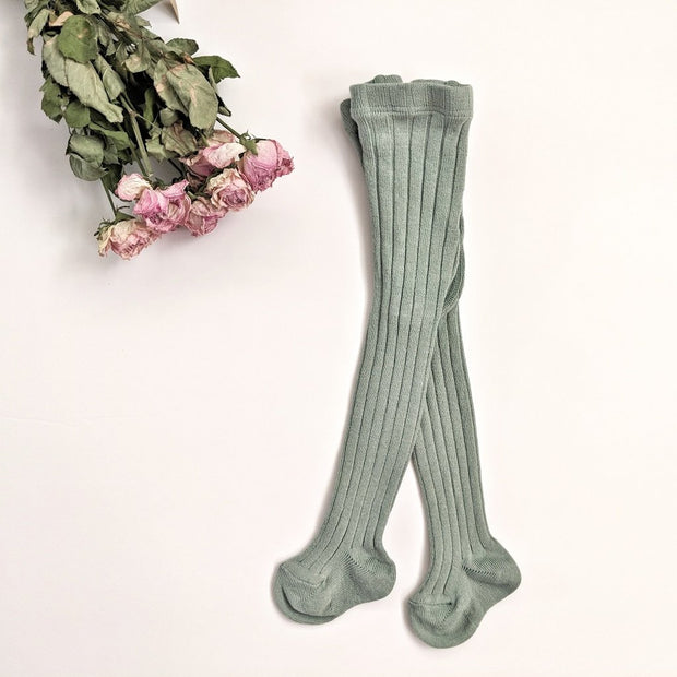 Rib Tights- Sweet Sage, tights - Ponponia