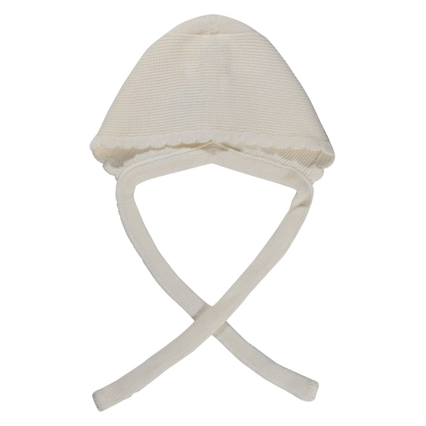 Knitted cotton bonnet- Cream, hats - Ponponia