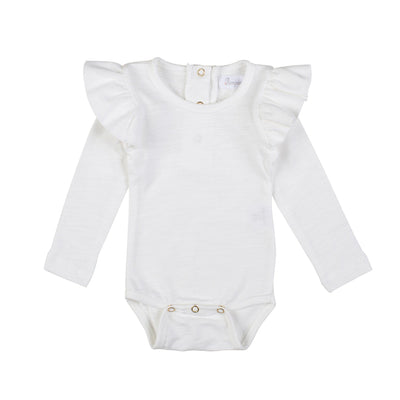 Shoulder Ruffles bodysuit- Off White, Bodysuit - Ponponia