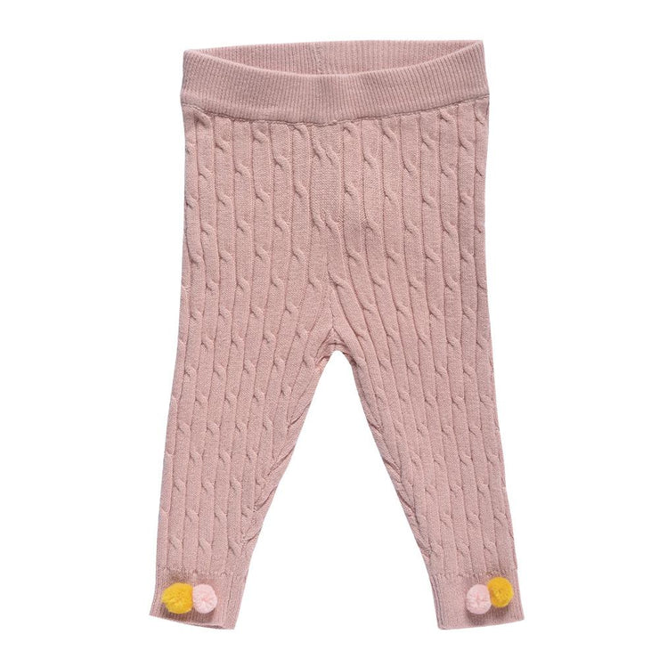knitted pants with pompoms- Light Pink, pants - Ponponia