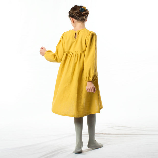 Mustered linen dress, dresses - Ponponia