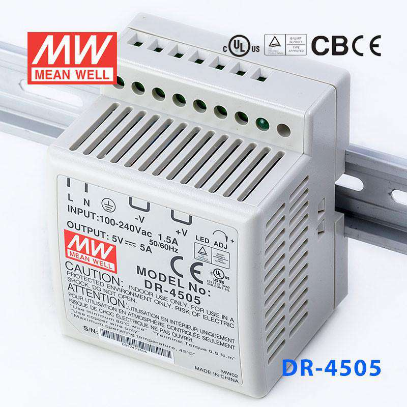 Buy Mean Well DR-4505 Power Supply - 25W 5V 5A for - $ 18 17 USD