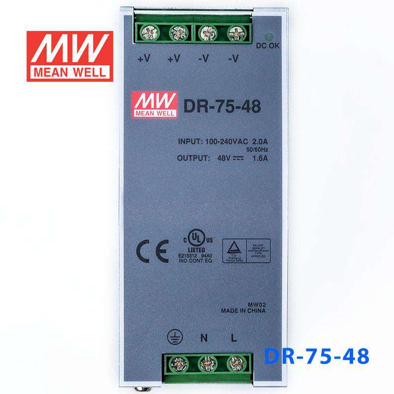 76.8W 48V 1.6A Meanwell DR-75-48 Power Supply