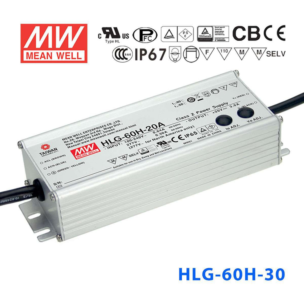 Meanwell Hlg 60h 30 Power Supply 60w 30v 2a Ip67 12vdc To 230vac Inverter Circuit