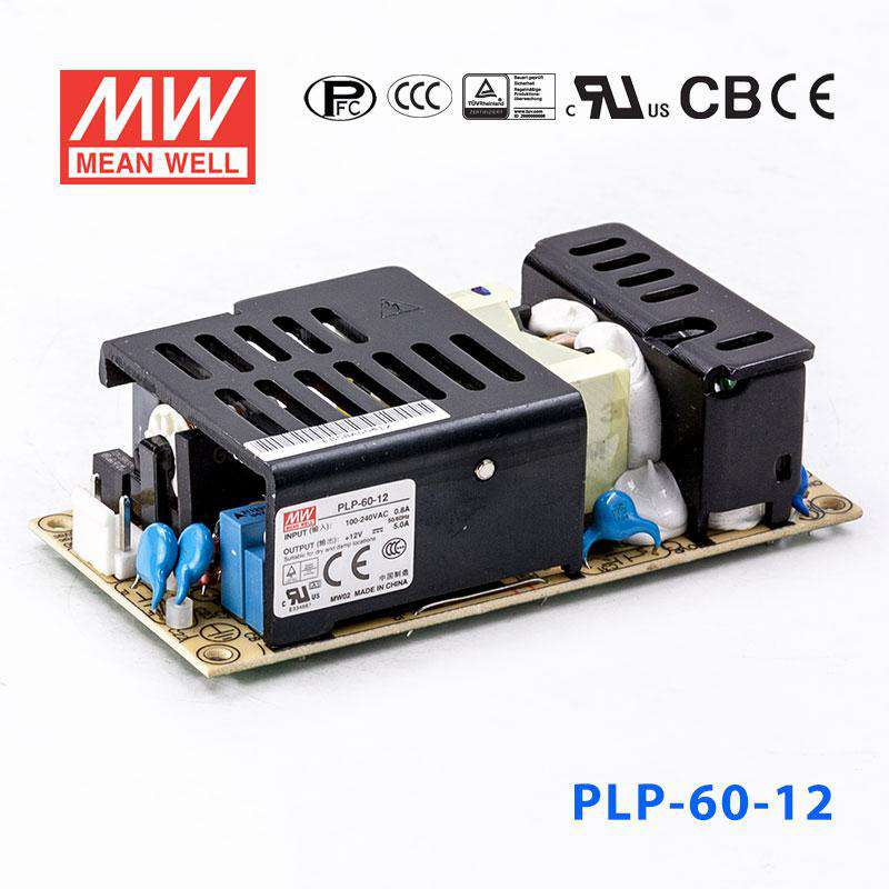 1.37 H x 2.4 W x 7.1 L Mean Well PLN-60-12 LED Enclosed Power Supply with PFC Function 0-5A 60W 12V