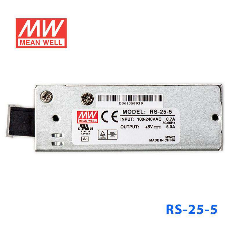 Buy Mean Well RS-25-5 Power Supply - 25W 5V 5A for - $ 9 09 USD