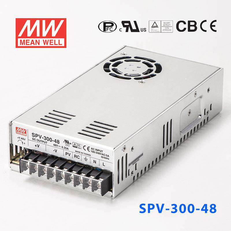 Adj Output Medi,PFC PCB Open Frame Input: 90~264 VAC Mean Well RPS-300-48 Switching Power Supply 200//300W 48V 4.17//6.25A for Convect//Fan 127~370 VDC