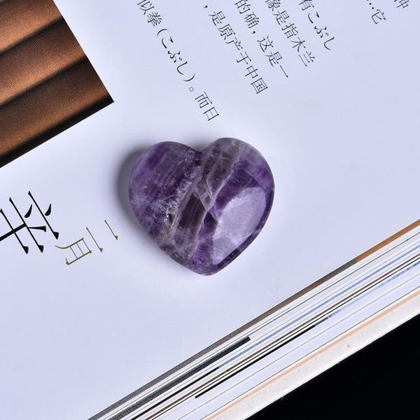 1PC Crystal Love Modern Home Decor Amethyst Heart Shape Quartz Pentagram Mineral Crystal Natural Gems Collections Decorations