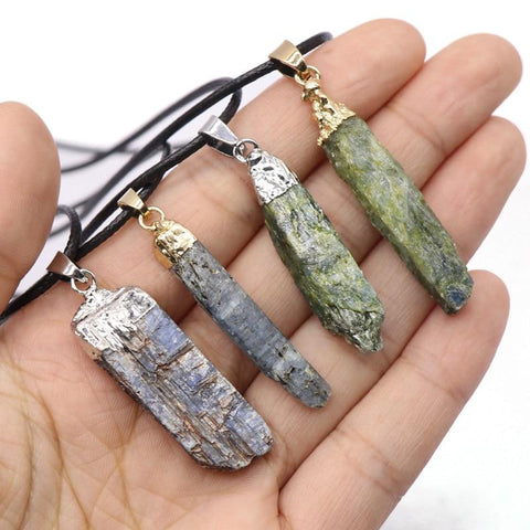 1pc Raw Pendulum Healing Mineral Natural Blue Kyanite Quartz Necklace Real Stone Green Crystal Pendant Necklace Choker for Women