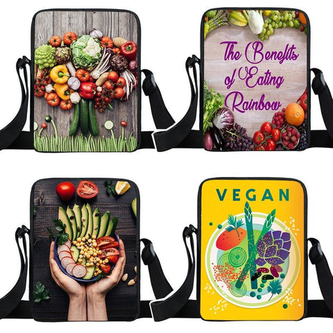 Vegan Vegetable and Fruit Corssbody Bags Girls Small Satchel Mini Messenger Bag Women's Handbag Ladies Shoulder Bag Bookbag Gift