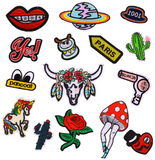 15 PCS Assorted Iron On Embroidered Motif Patches for Jeans, Clothings, Shoes, Bags Applique Sequin Decoration