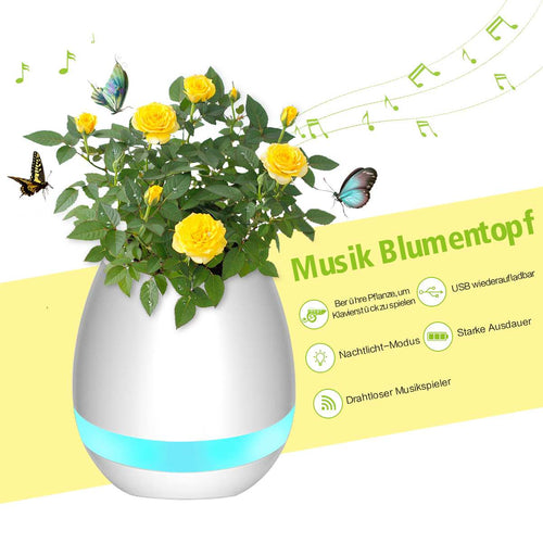 Smart Flower Pot with wireless speaker and beautiful LED illumination