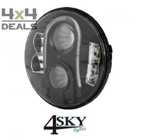 "4SKY led koplamp 7"" Black 