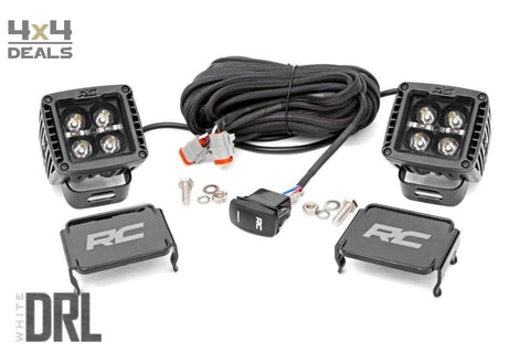 Rough Country Black Square verstraler 3600lm met DRL (2st) | Rough Country Black Square phare longue-portée 3600lm avec DRL (2pc)