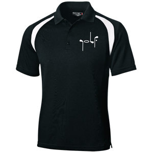 Black Men's Golf Polo shirt with white shoulder stripe and abstract embroidery